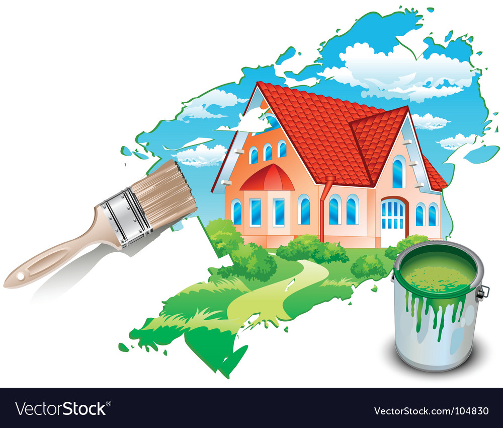Private residence drawn by paints vector