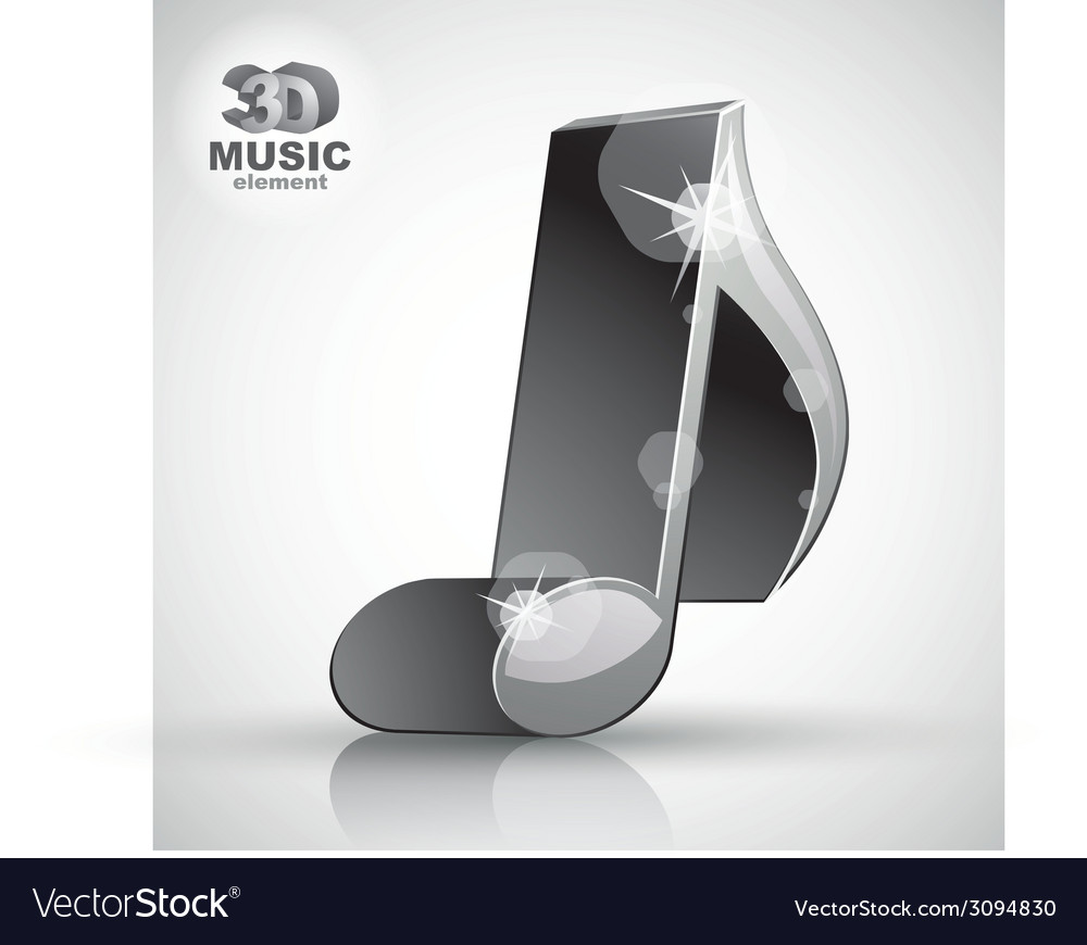 Trendy metallic slim musical note 3d modern style vector