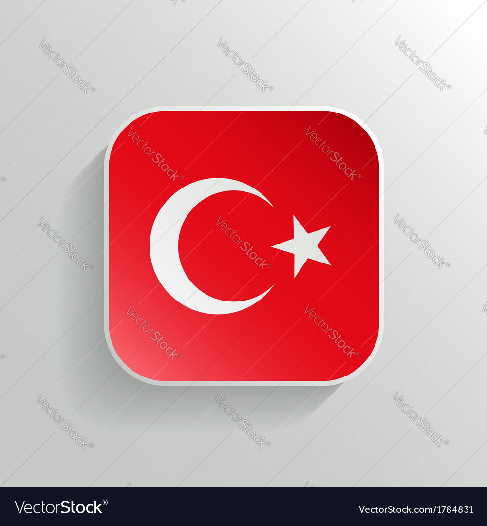 Button - turkey flag icon vector