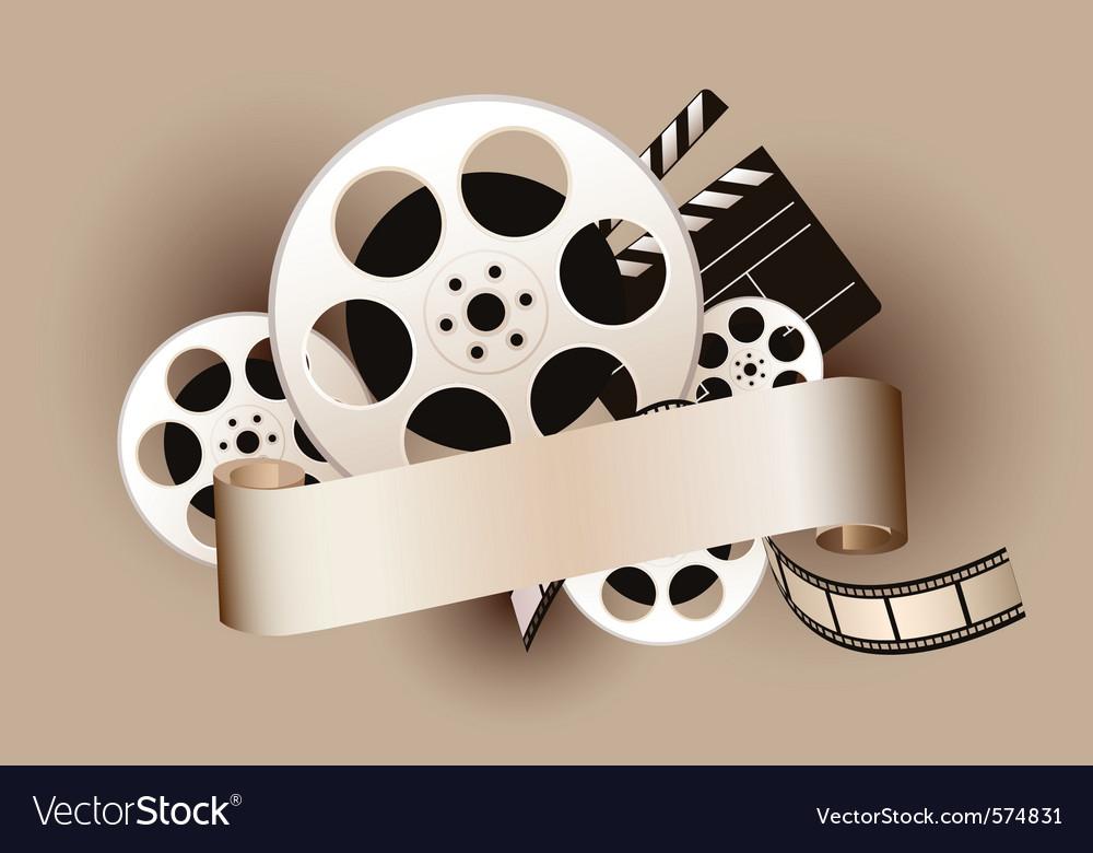 Film reel with baner vector