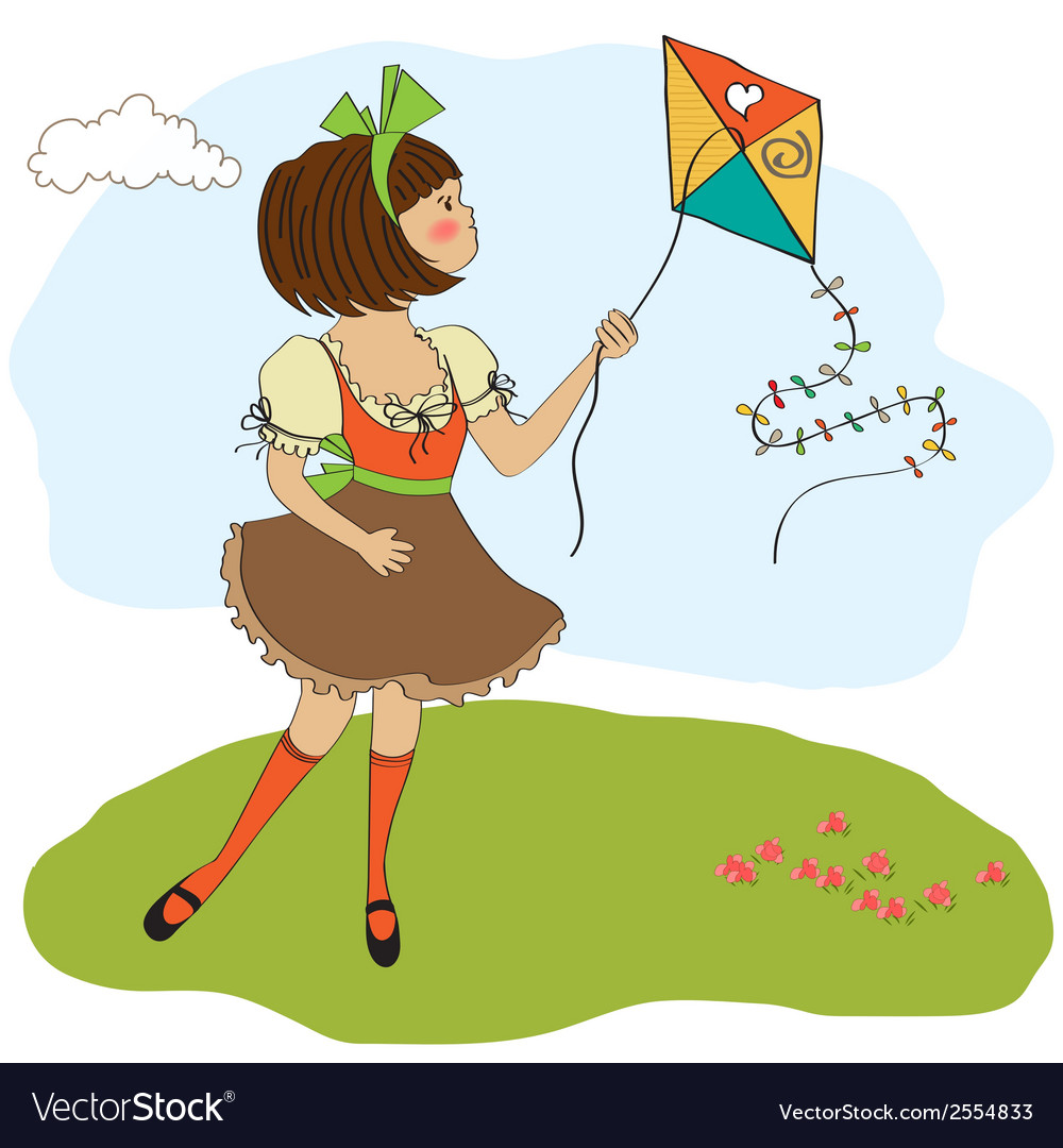 Cute teens who are playing with a kite vector