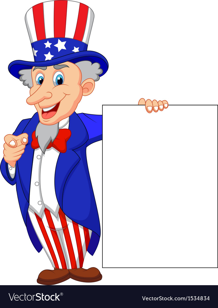 Uncle sam cartoon with blank sign vector