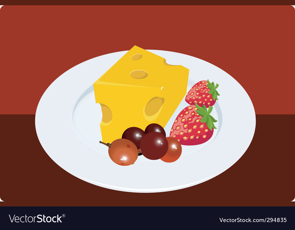 Fruits and cheese vector