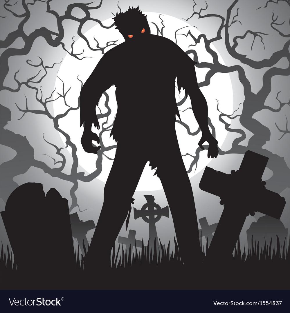 Zombie and tombstones vector