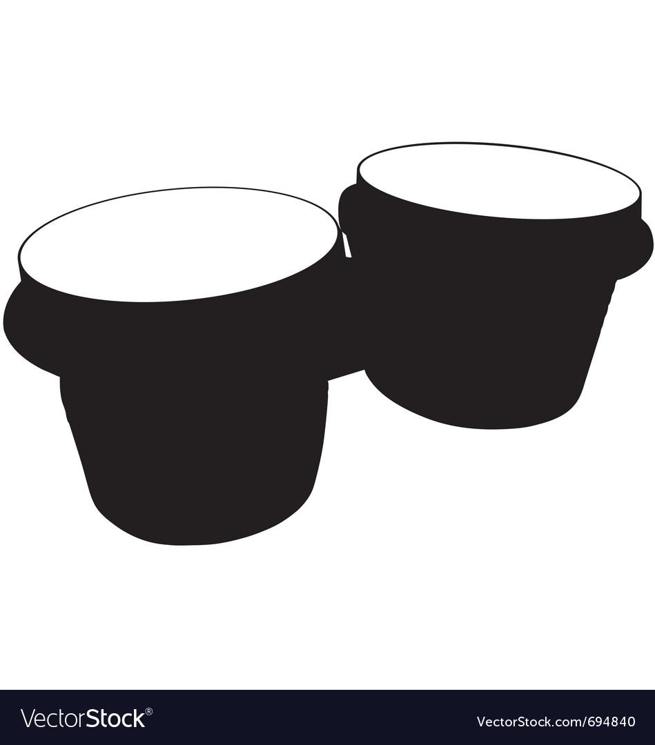 Bongo drums silhouette vector