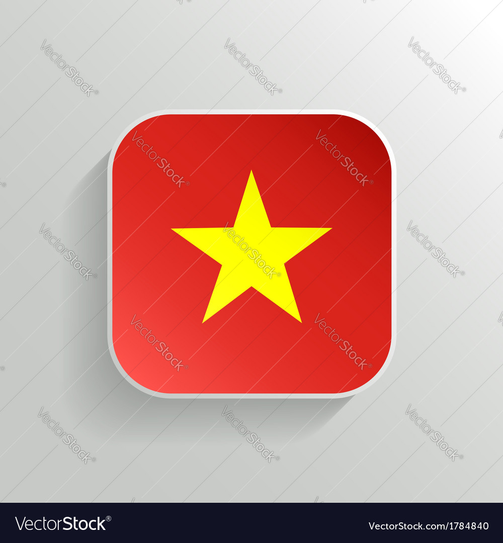 Button - vietnam flag icon vector