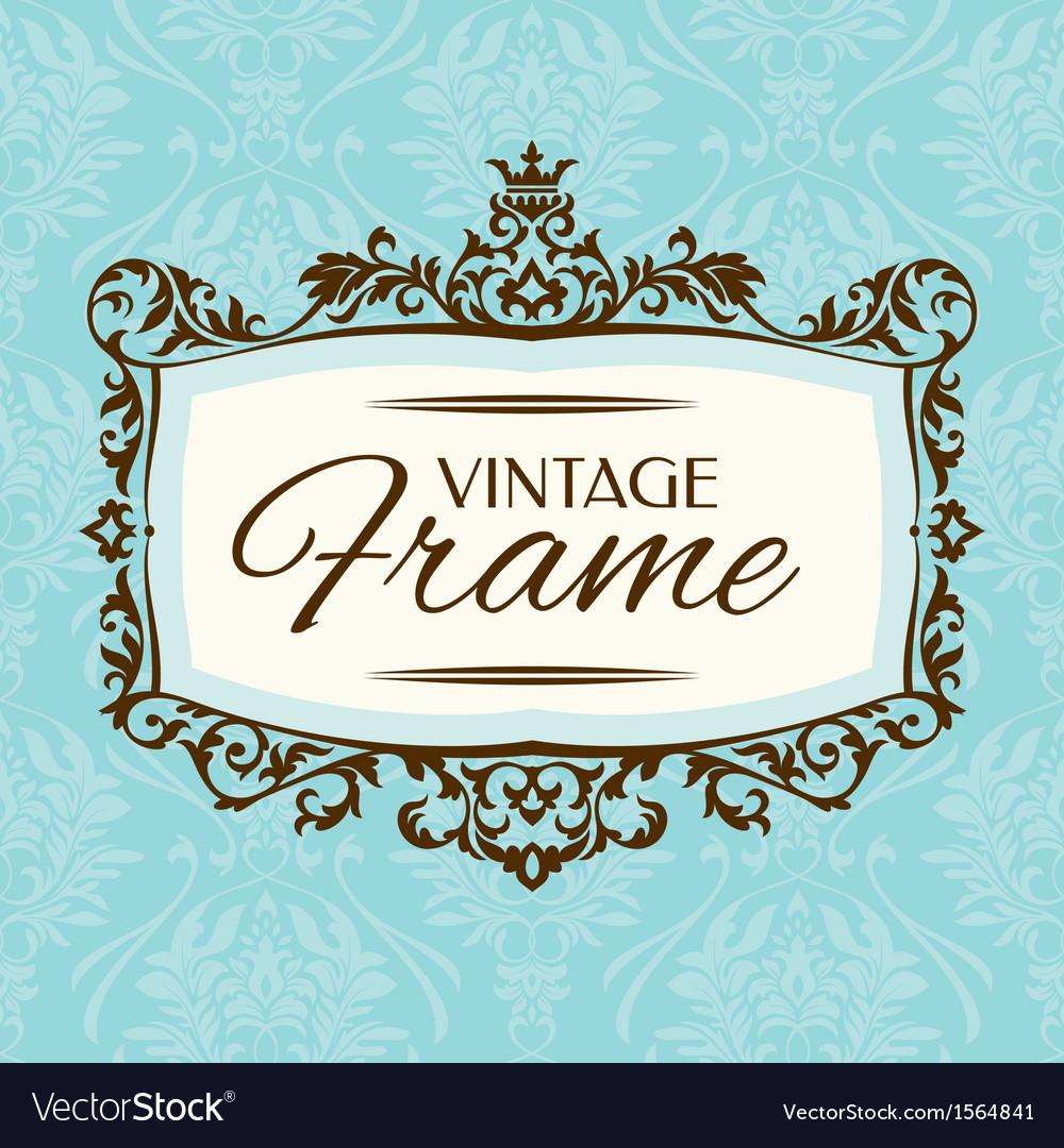 Floral retro frame vector