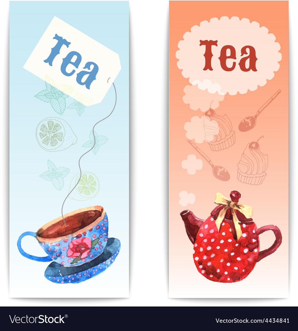 Watercolor tea banner vector