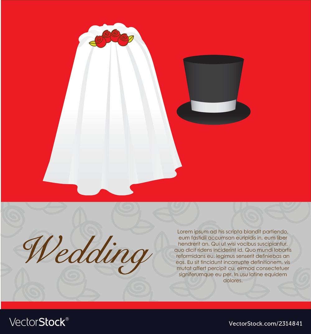 Wedding card wedding veil and groom hat vector