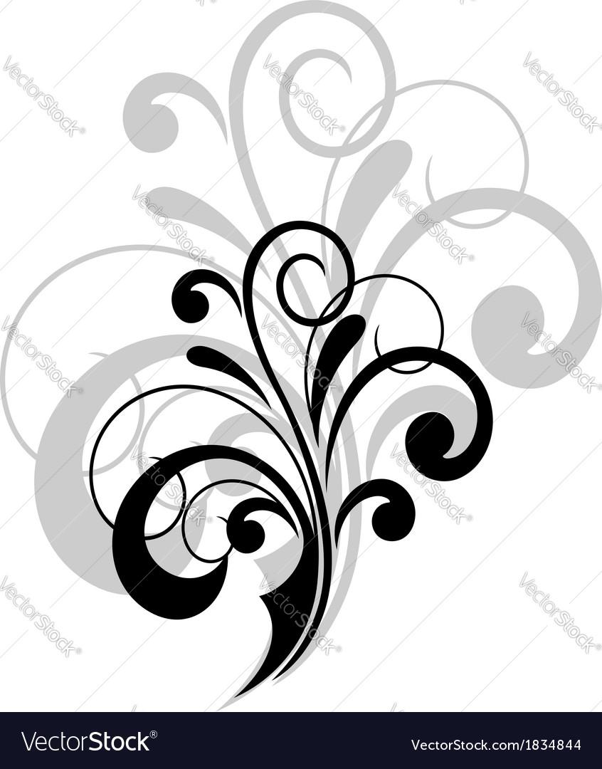 Simple swirling calligraphic design vector