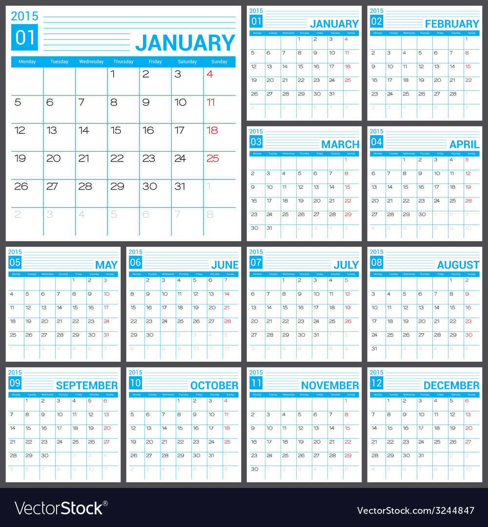 2015 full calendar blue template vector
