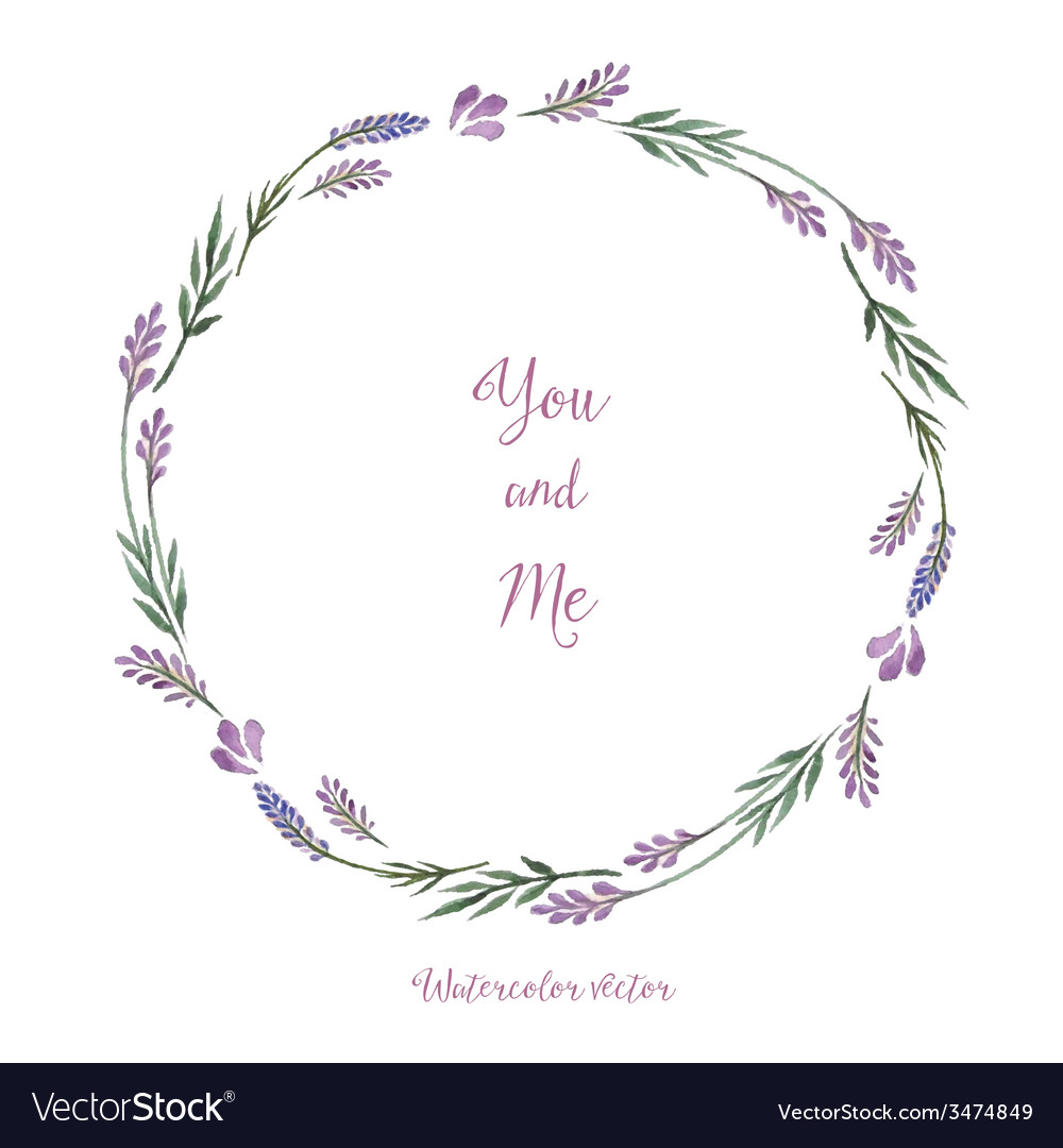Watercolor decorative elements round frame of lave vector