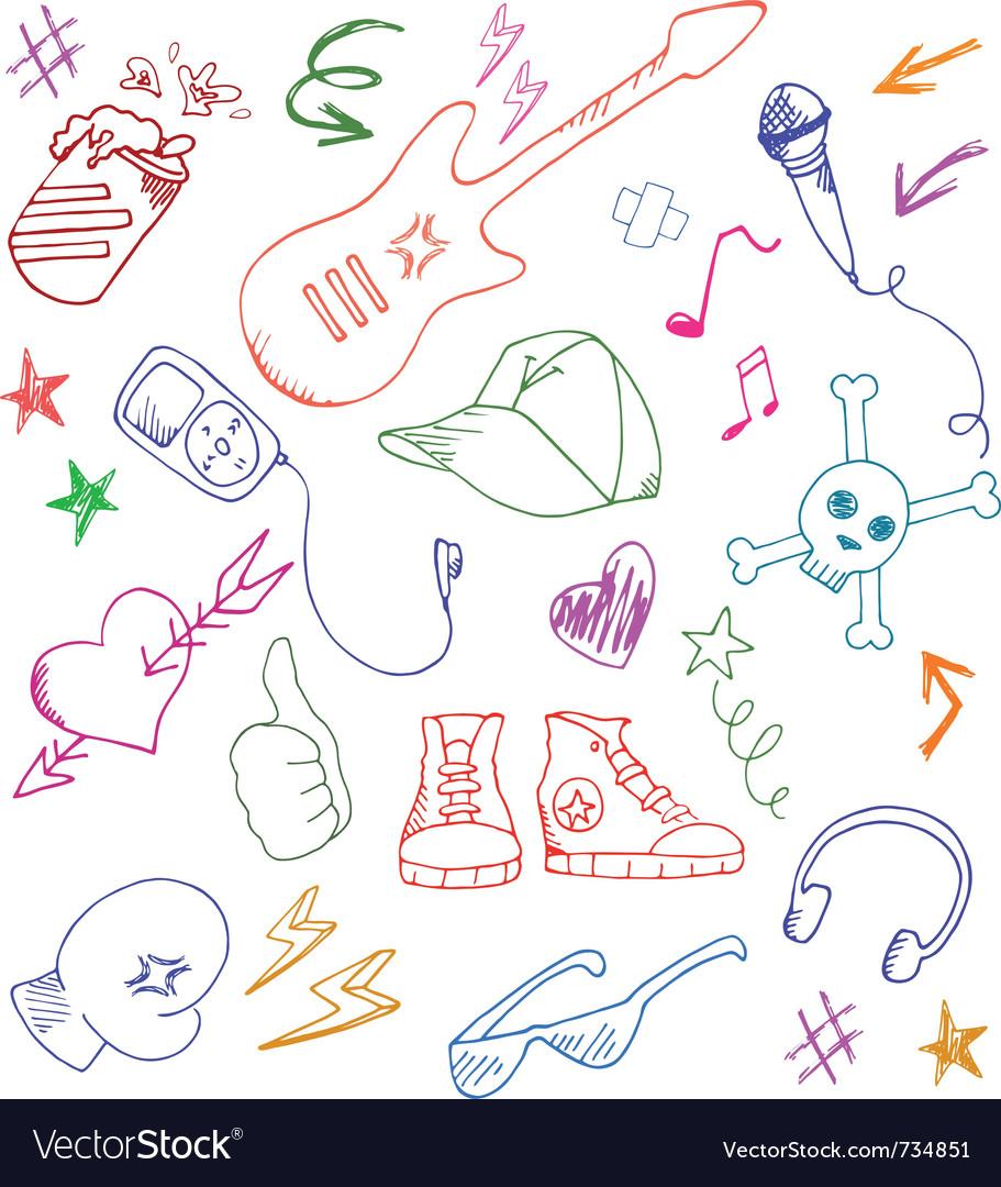 Cool doodles vector