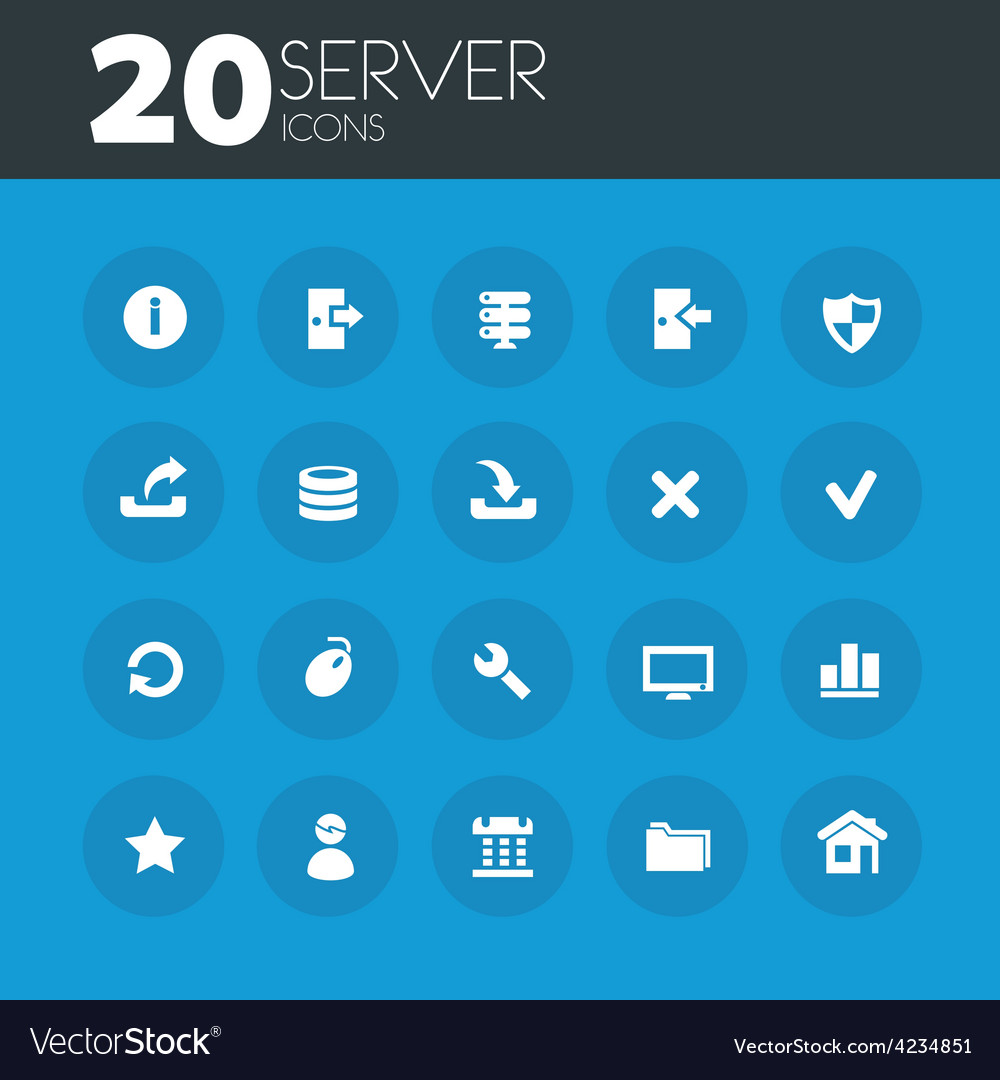 Server icons on round blue buttons vector
