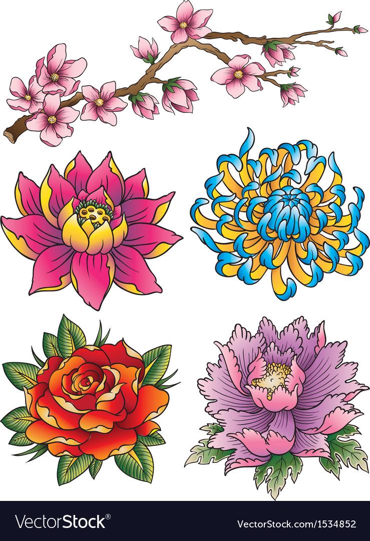 Tattoo flower set vector