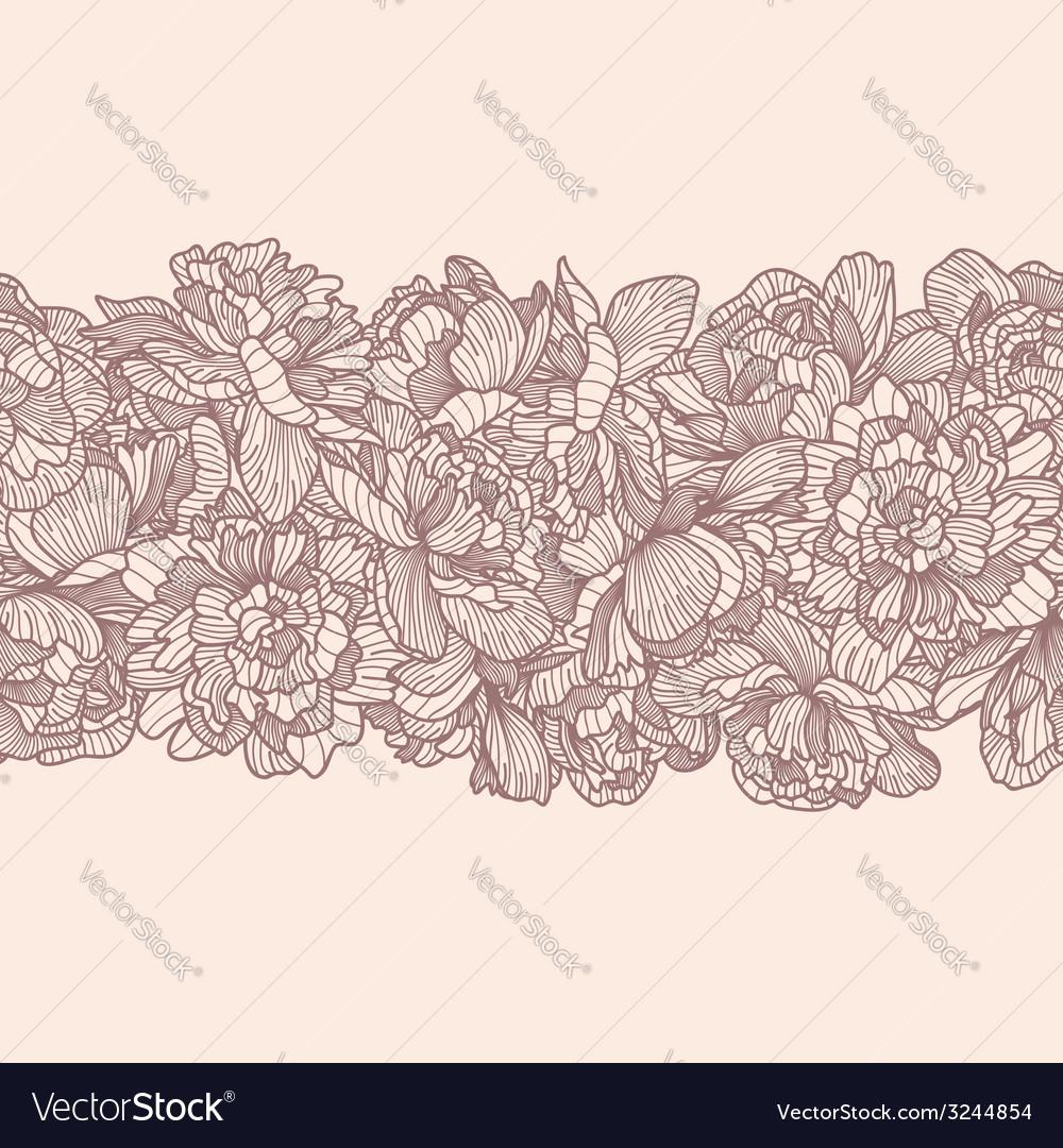 Seamless peony flowers border vector