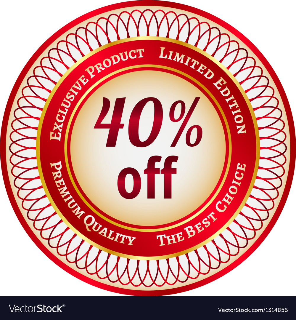 Label on 40 percent discount vector