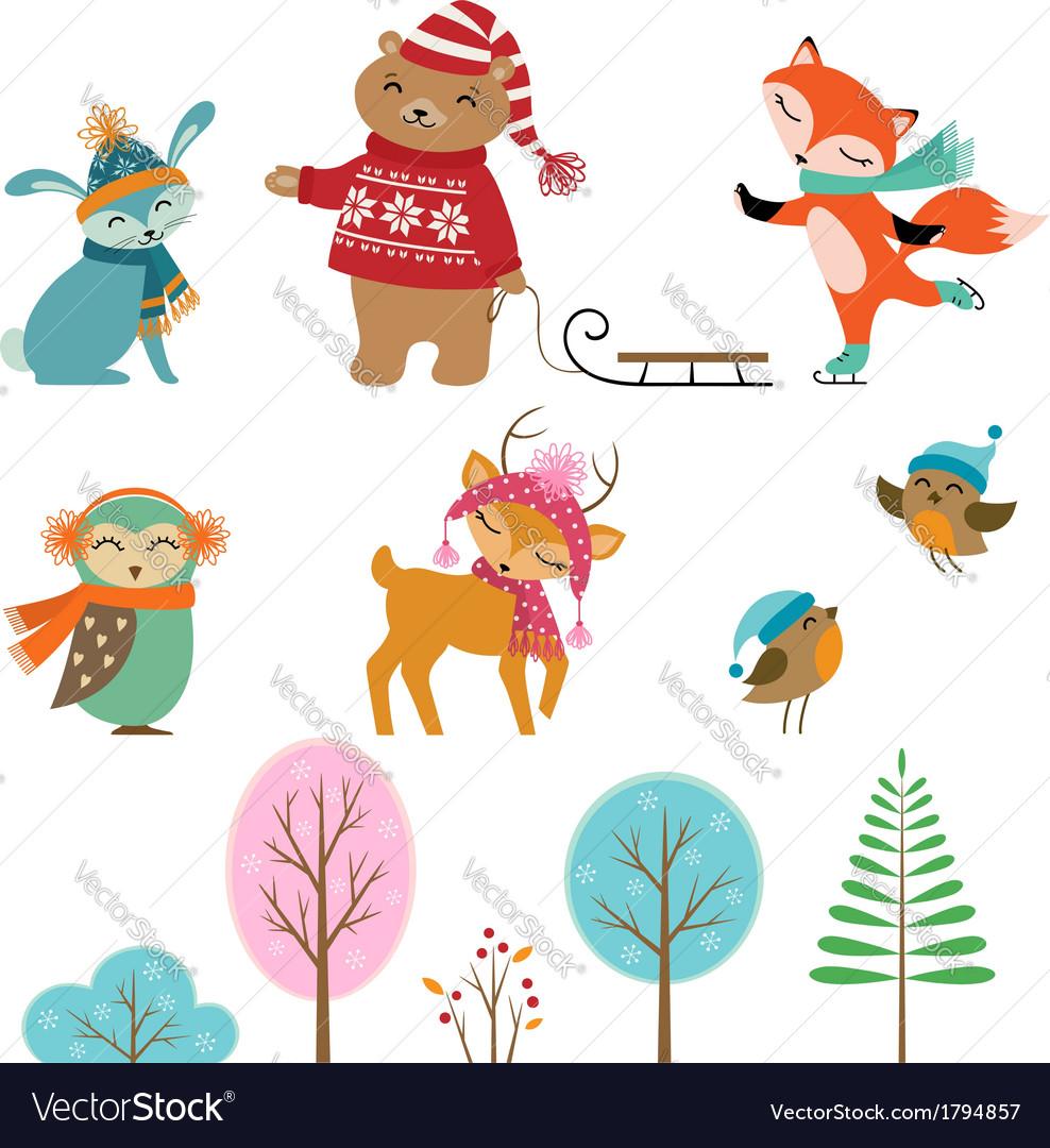 Cute winter animals vector