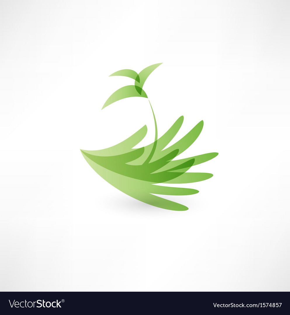 Hands and plant icon vector