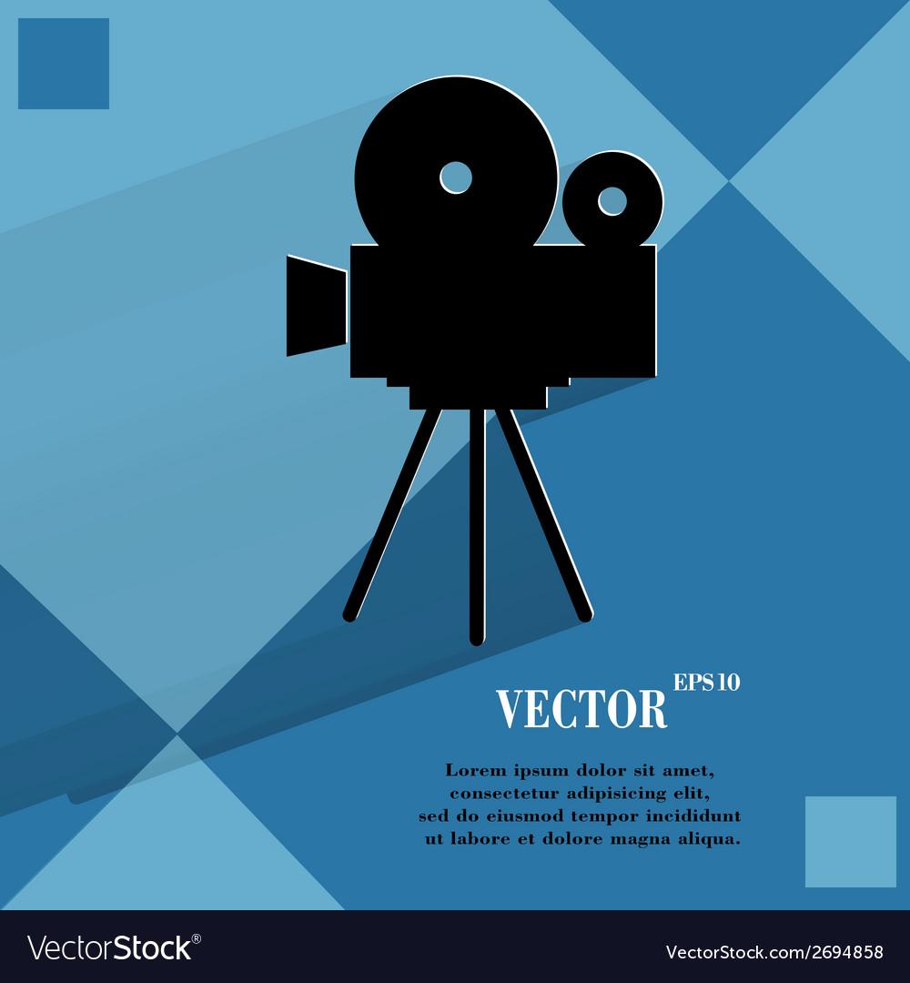 Videocamera flat modern web button on a flat vector