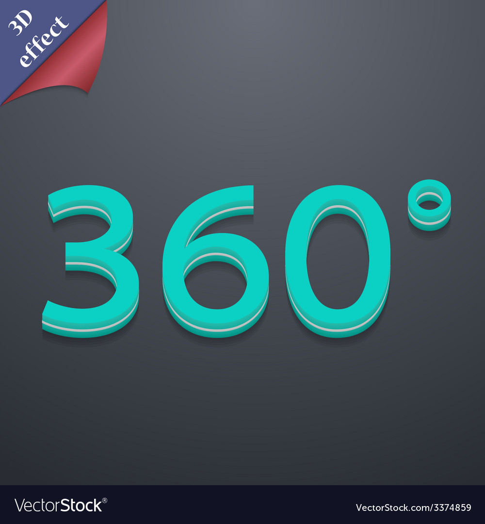Angle 360 degrees icon symbol 3d style trendy vector