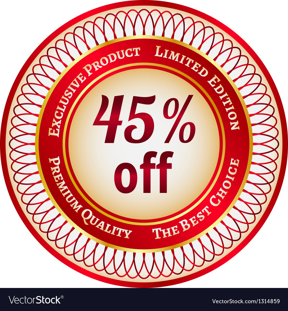 Label on 45 percent discount vector