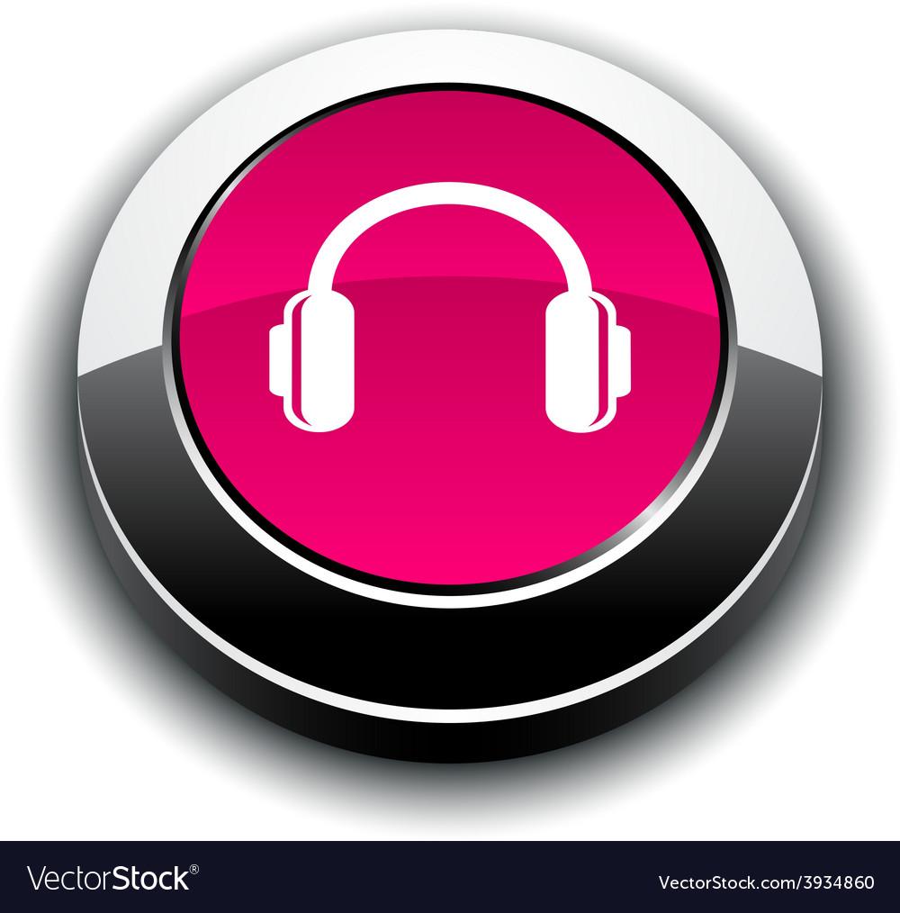 Headphones 3d round button vector