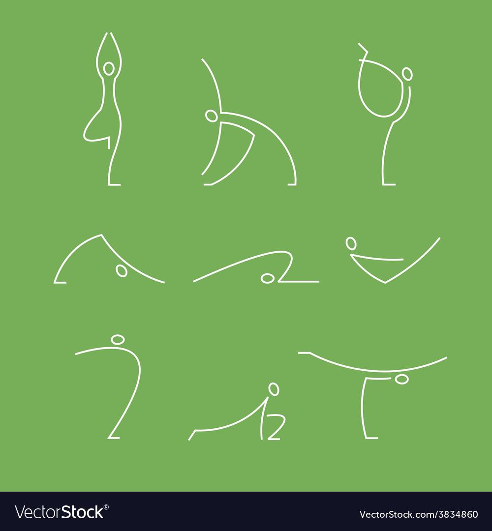 Yoga pilates big set of symbols vector