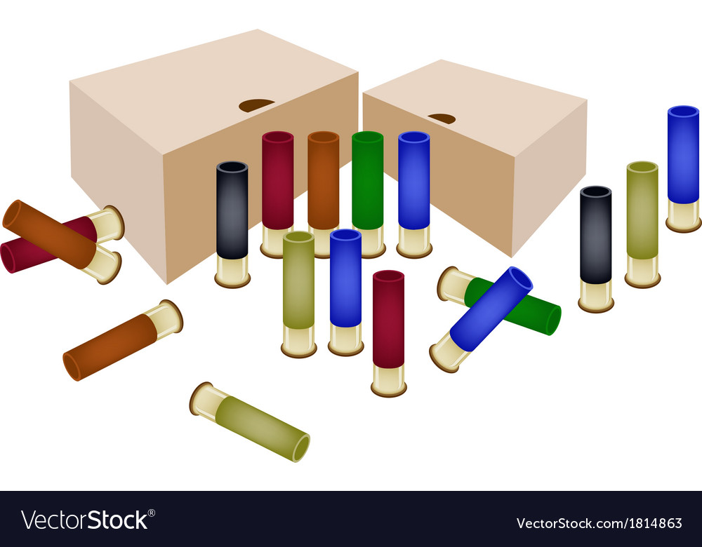 Boxes of shotgun shells on white background vector