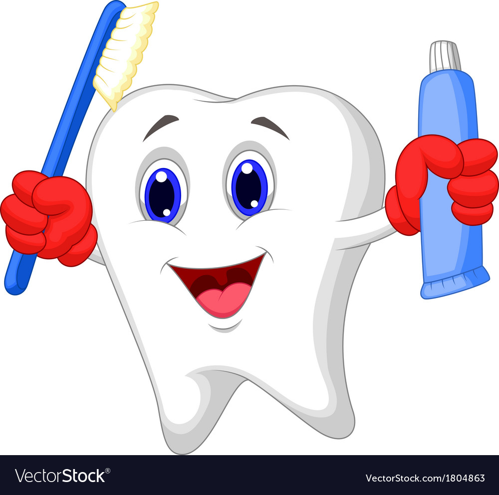 Tooth cartoon holding toothbrush and toothpaste vector