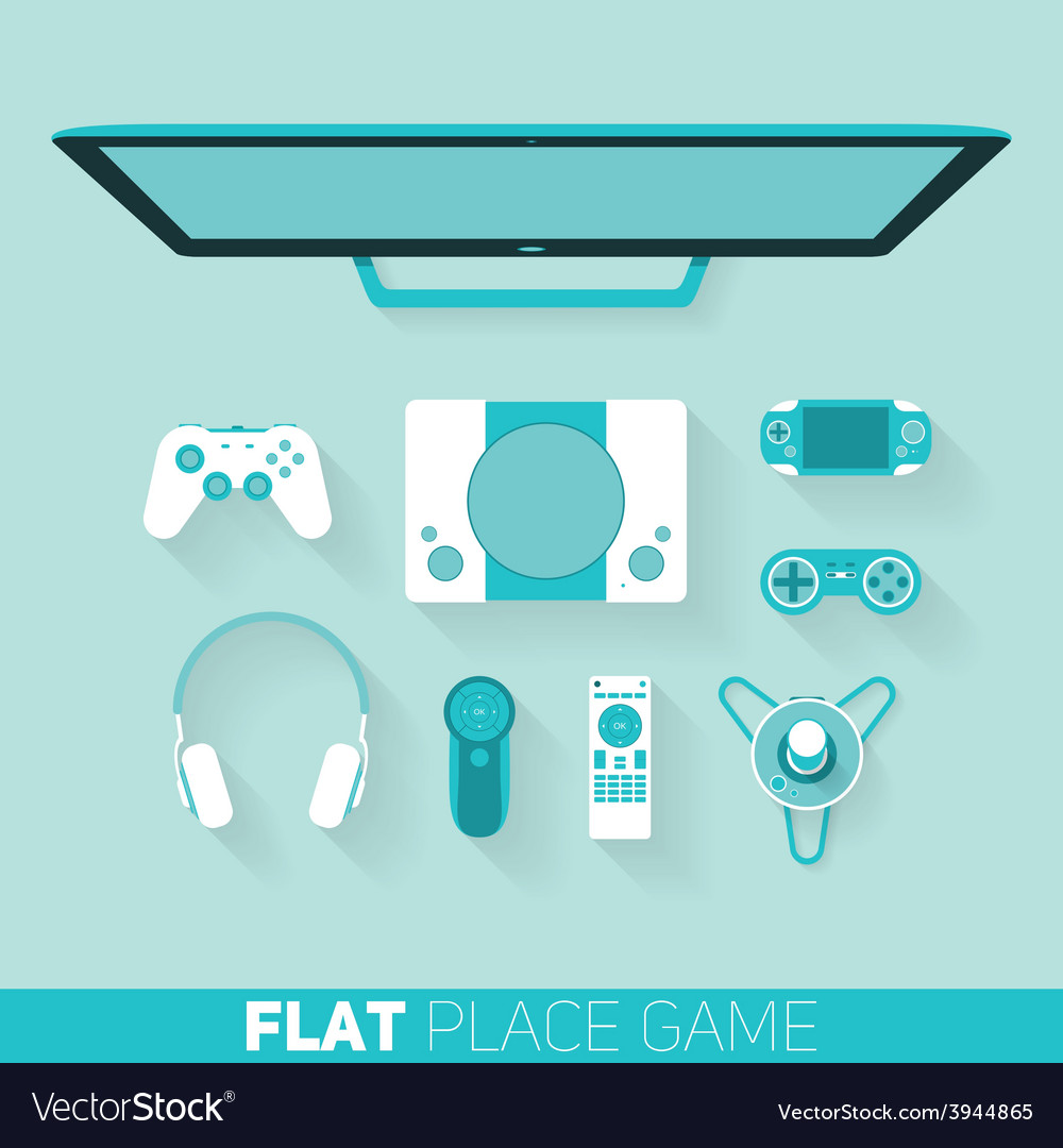 Flat design of game devices with long shadow vector