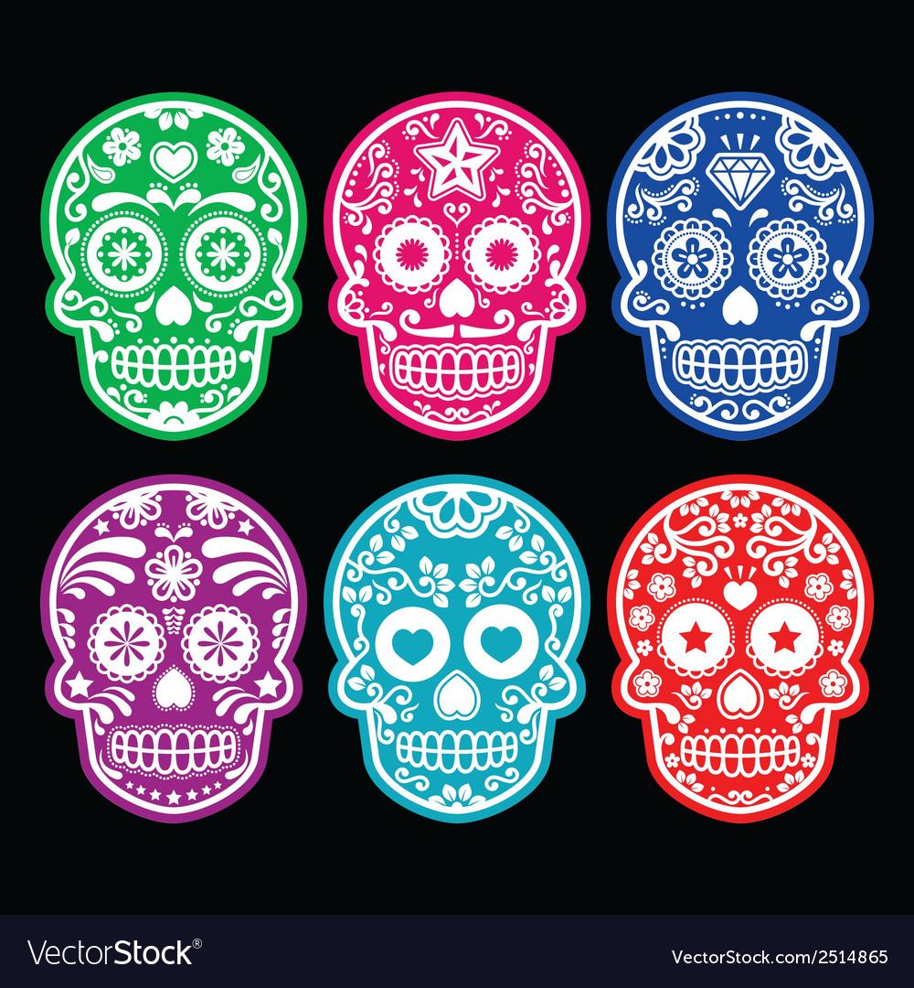 Mexican sugar skull icons set colour black bg vector