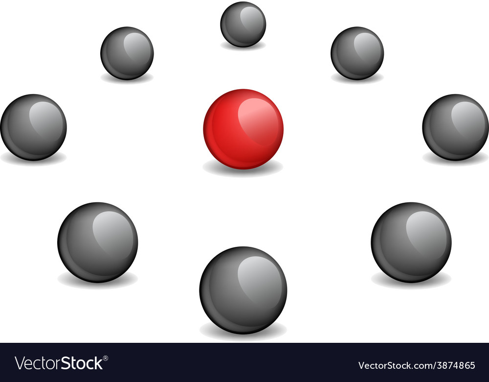 Red sphere surrounded black vector