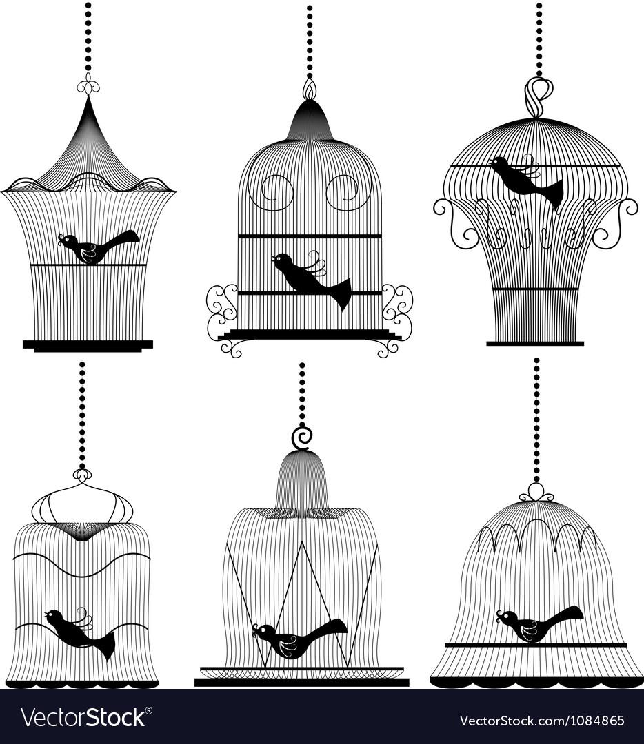 Vintage bird cage set vector