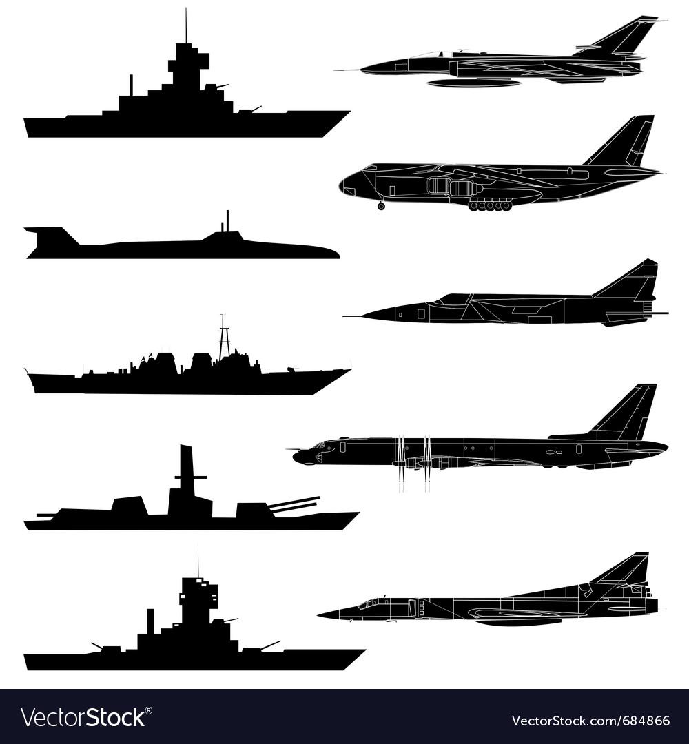 A set of military aircraft ships and submarines vector