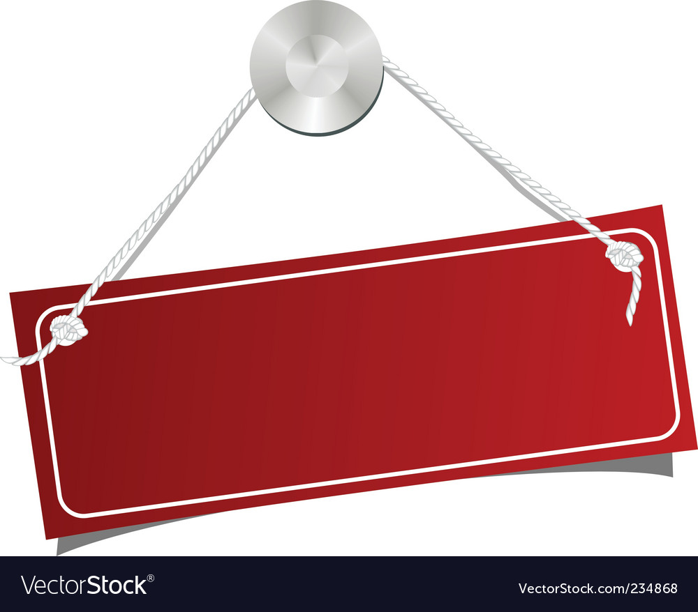 Red label on a nail vector