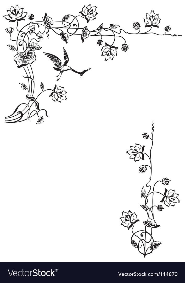 Antique floral frame engraving vector