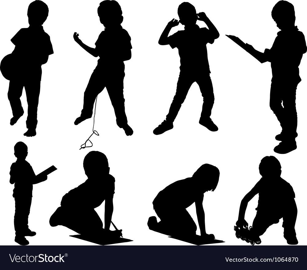 Leisure child set silhouettes vector