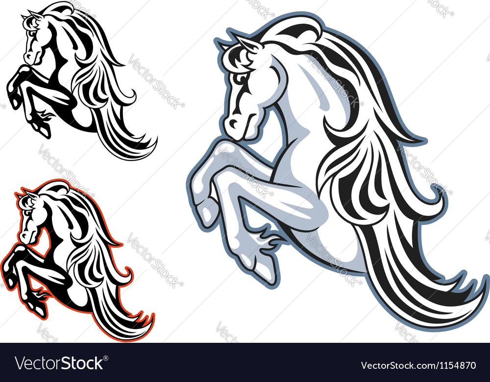 Wild stallion mascot vector
