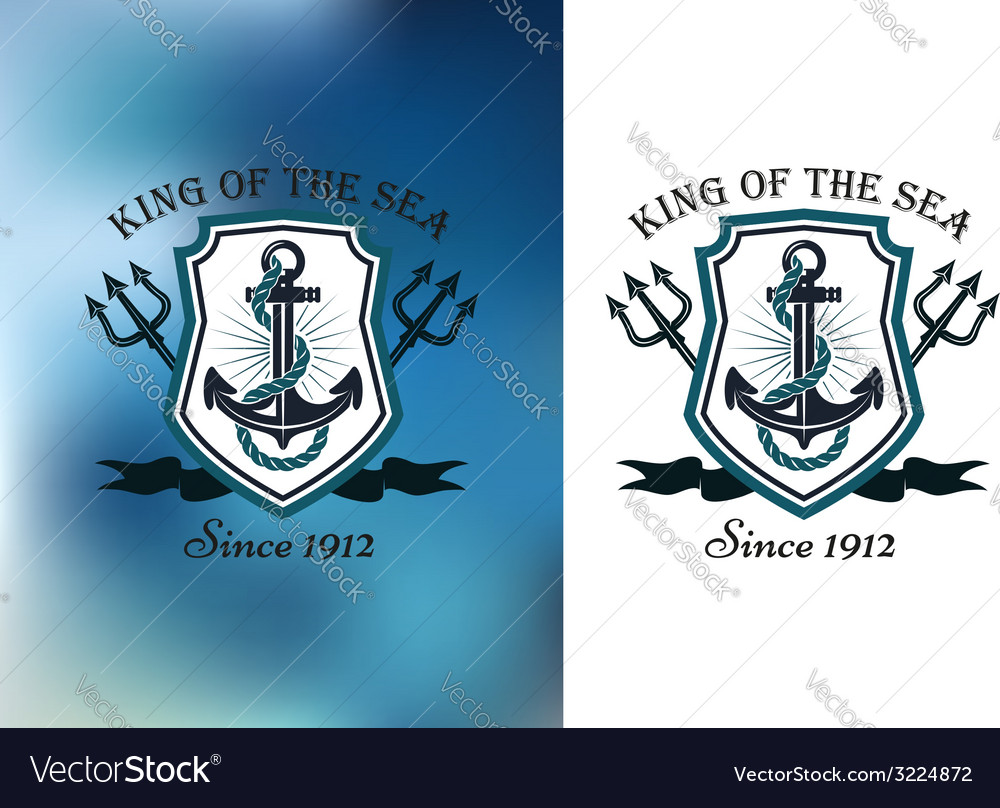 King of the sea nautical themed badge vector