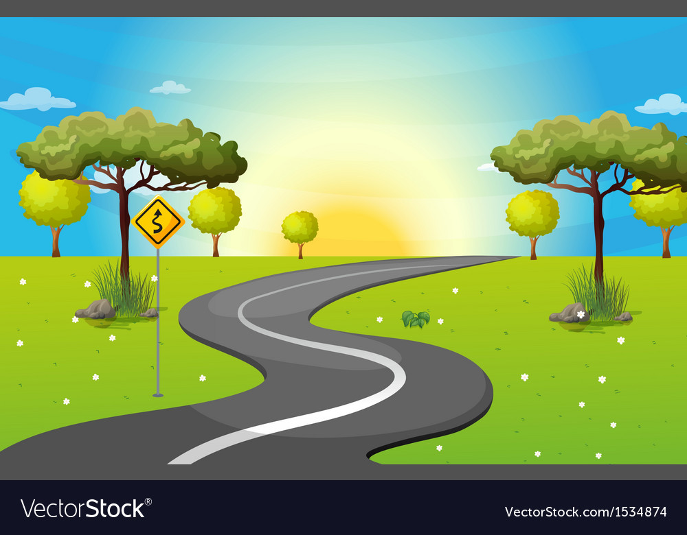 A long and winding road at the forest vector