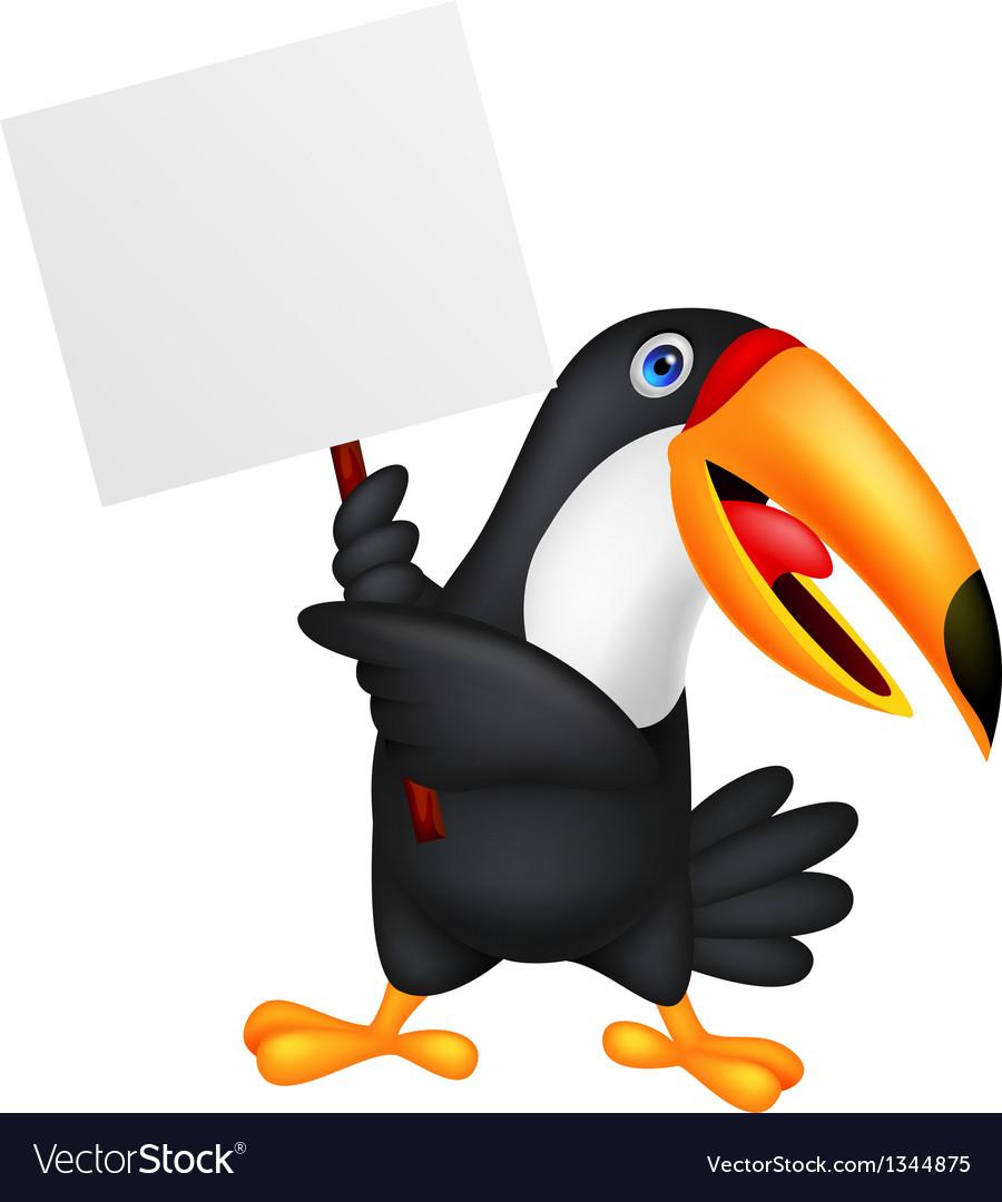 Toucan bird cartoon with blank sign vector