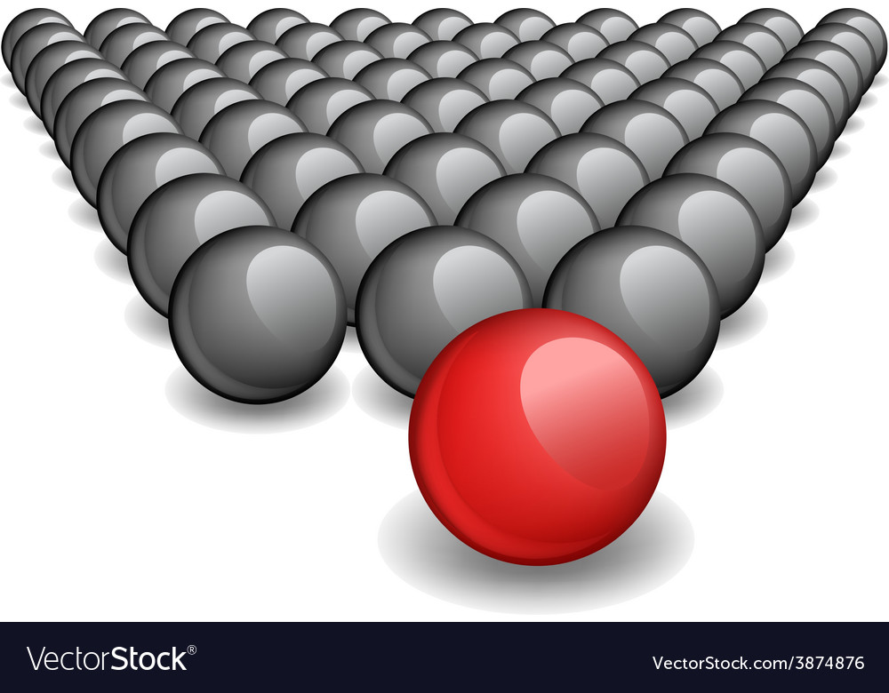 Follow the leader unique red ball image vector