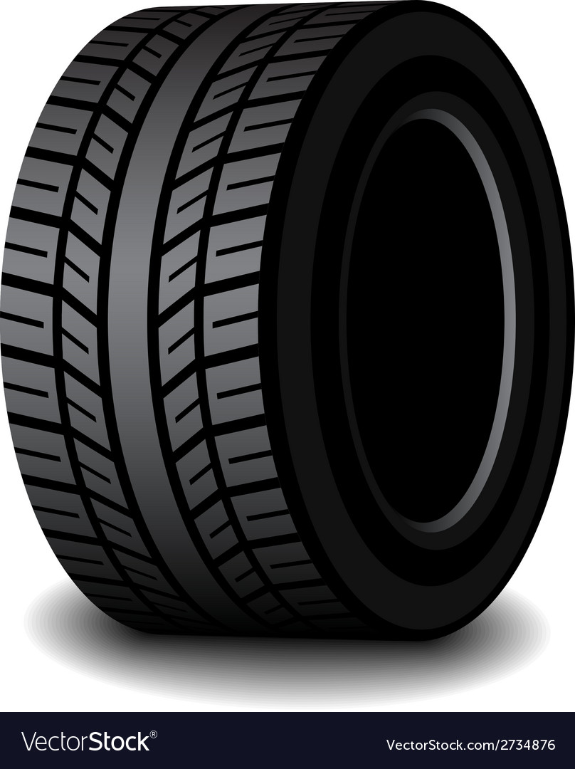 Rubber tyre with shadow vector