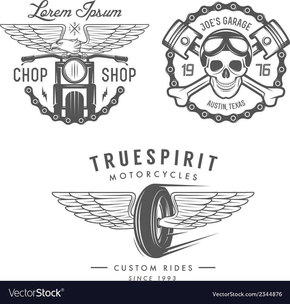 Set of vintage motorcycle design elements vector