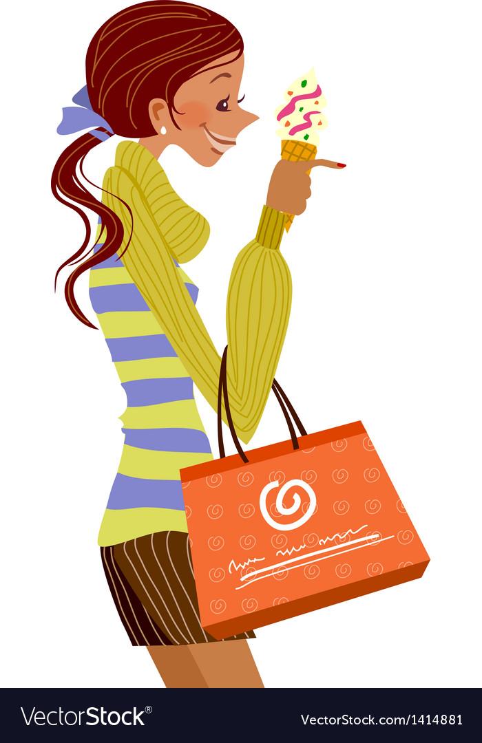 Woman with ice cream vector