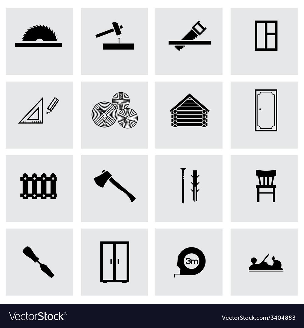 Black carpentry icons set vector