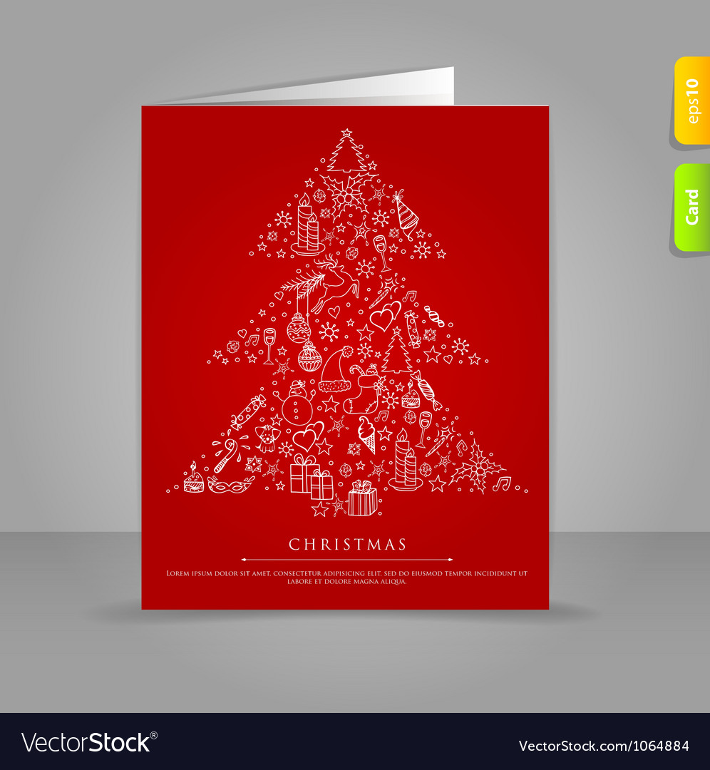 Xmas card tree vector