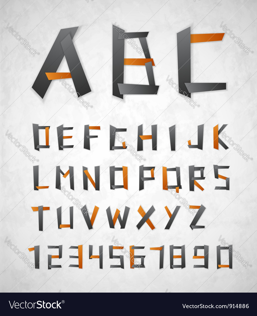 Alphabet from paper vector