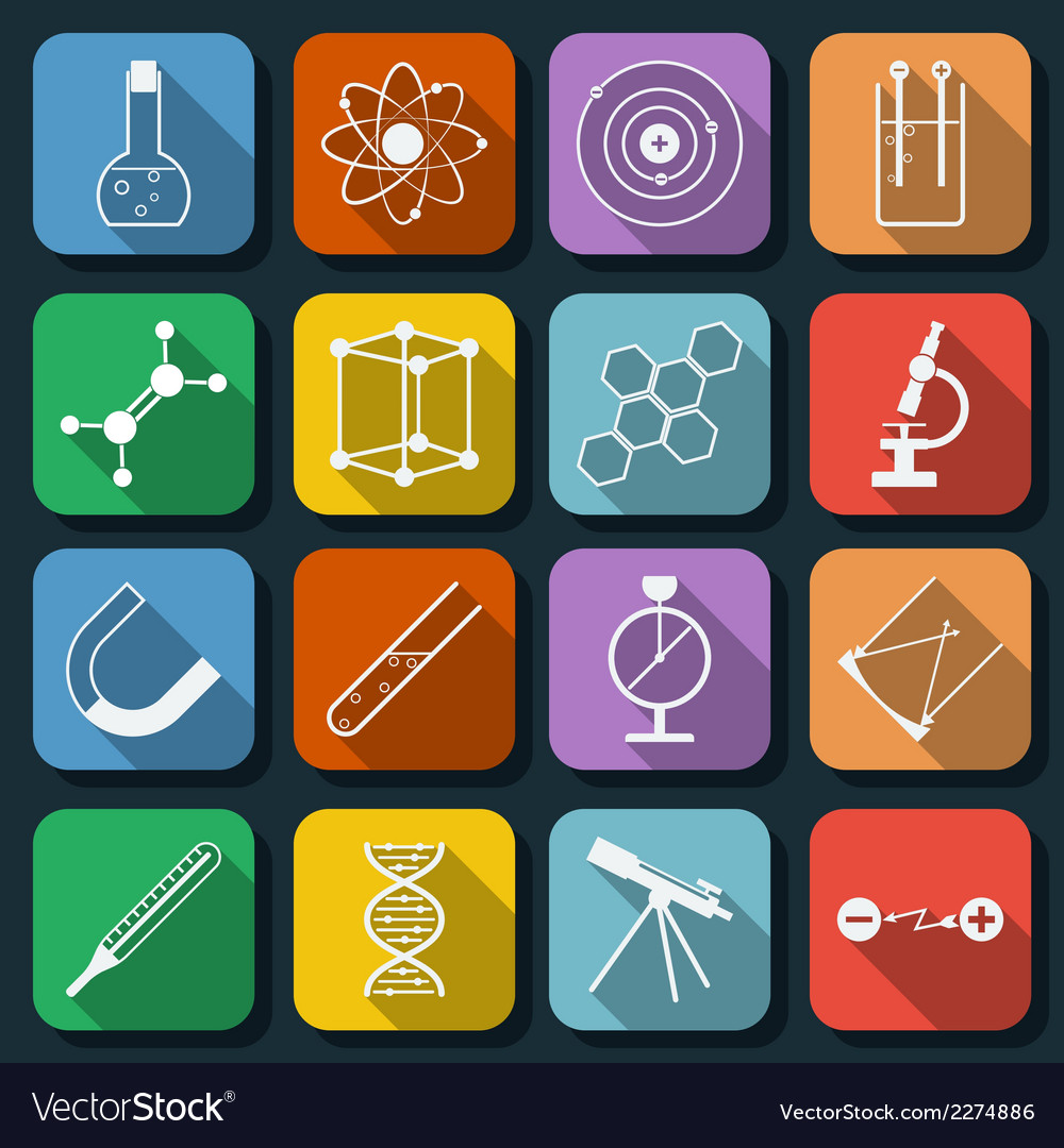 Science flat icons vector